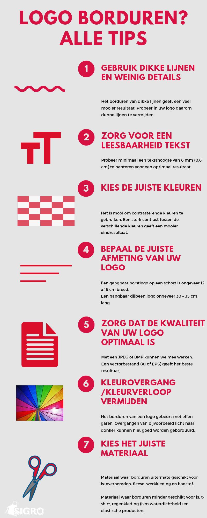 Tips Borduren Logo infographic